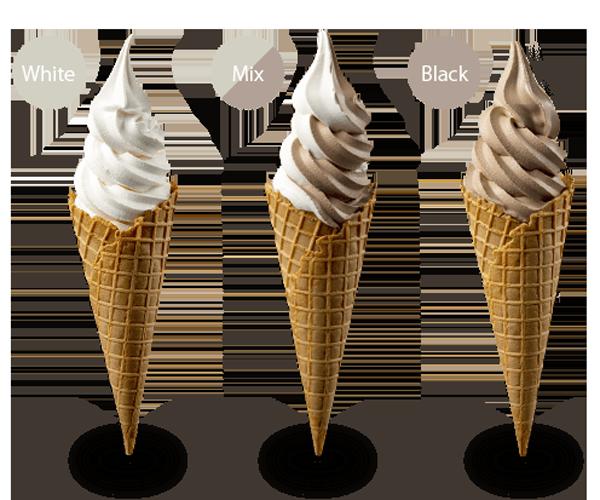 白い恋人ソフトクリーム(ホワイト・ミックス・ブラック)